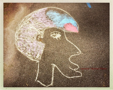 Kids and coloured chalk